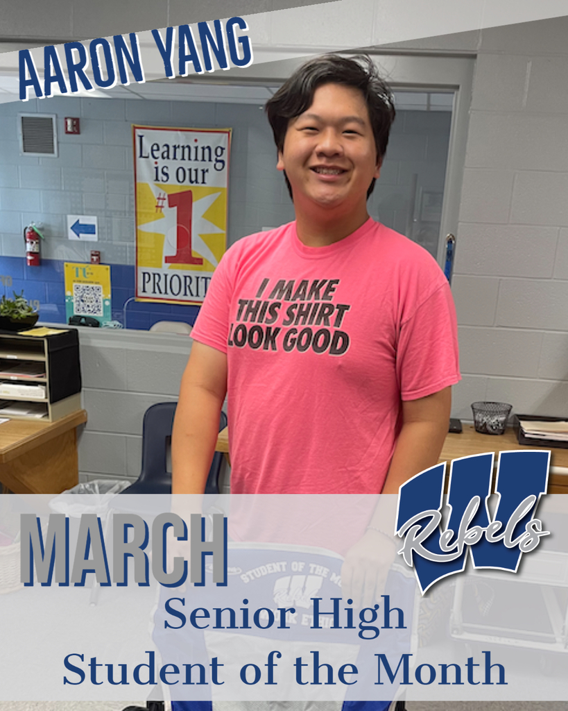 March Sr High Student of the Month - Aaron Yang